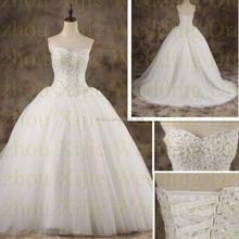 2015 Hot Sell Top Quality Ball Gown Sweetheart Wedding Gown With Heavy Beads OEM Service Welcome For Wholesale --- 2016-0006