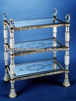 Cut Glass Book Case - Glass Etagere - Crystal Glass Trolley