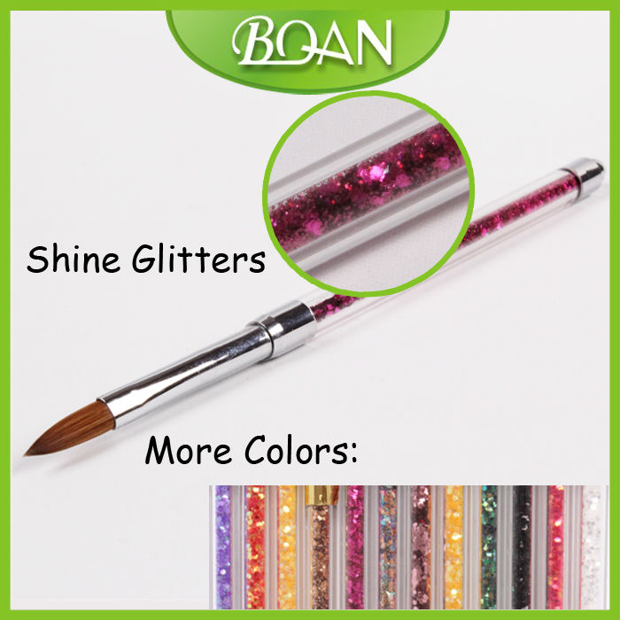 2014 Newest Design Nail Brush Colorful Glitters Pure Sable Nail Product