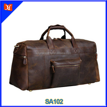 Vintage cowhide Leather men's Travel Duffle bag genuine leather luggage Bag tote weekender bag wholesale