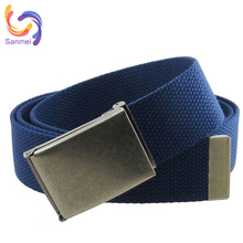Multicolor Canvas Braided Waist Belt with Removable Iron Buckle, High Quality Polyester Canvas Belt