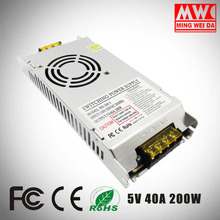 S-200-5 5V 40A 200W Ultrathin Led display switching power supply from factory directly