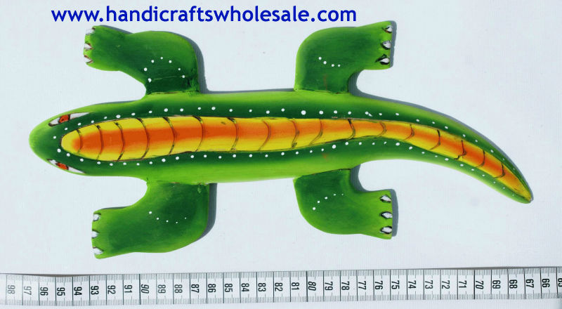 Colorful Woodcarving Crocodile Figurine Unique Amazon Rainforest Animal Sculpture Large Collectible Carving Reptile Statue Decor