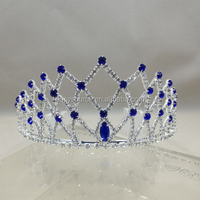 OEM decorative wedding pagent hairpiece dark blue crystal rhinestone girl party tiara and crown