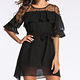 A3439 Fashion Sexy Stitching Loose Sleeve Ladies Dress Tunic Loose Lace Dress