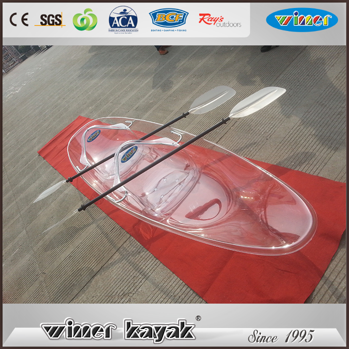 Recreational transparent polycarbonate kayak boat/kayak UV resistance clear kayak