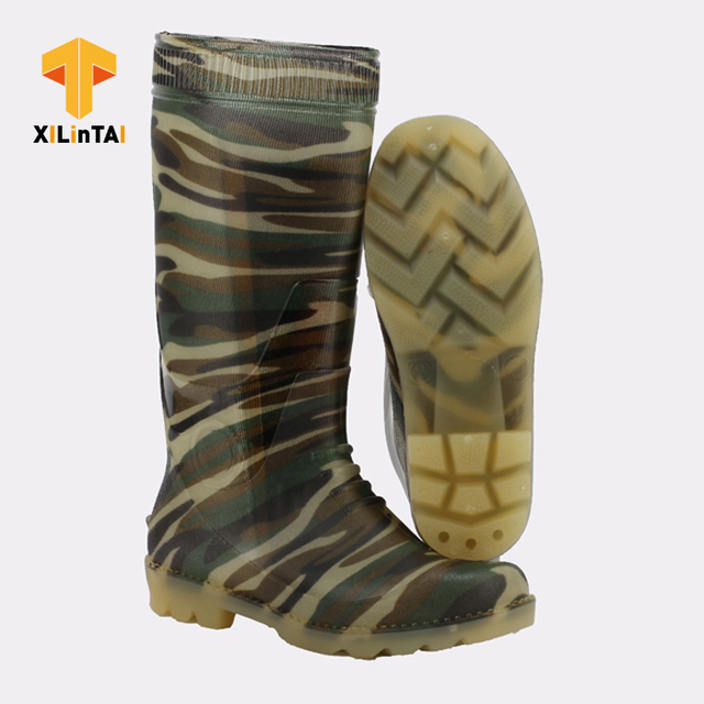 Green Camouflage PVC Labor Work Boots