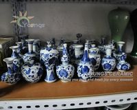 Small Chinese Antique Hand Painted Blue White Porcelain Vases For Collection