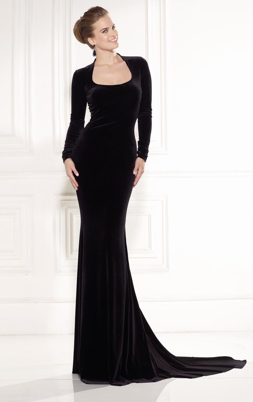 Floor Length Black Dresses with Sleeves