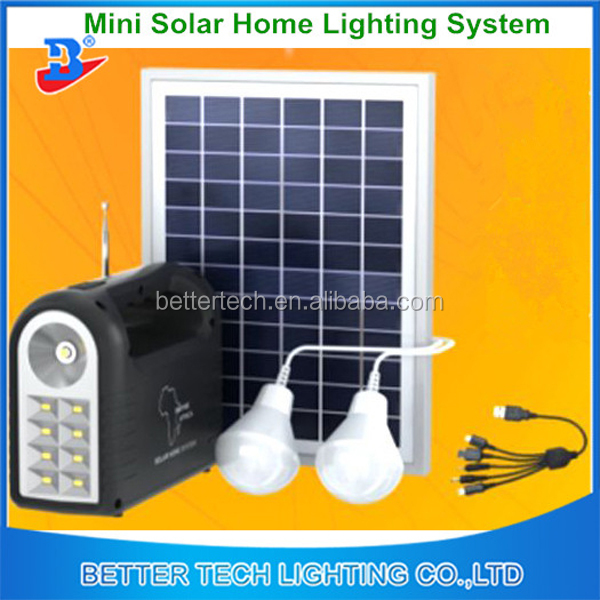 Home Mini Portable Solar Led Light Lighting System, Polycrystalline Silicon Portable Solar Power System Generator