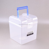 Multipurpose square transparent storage plastic container box with handle