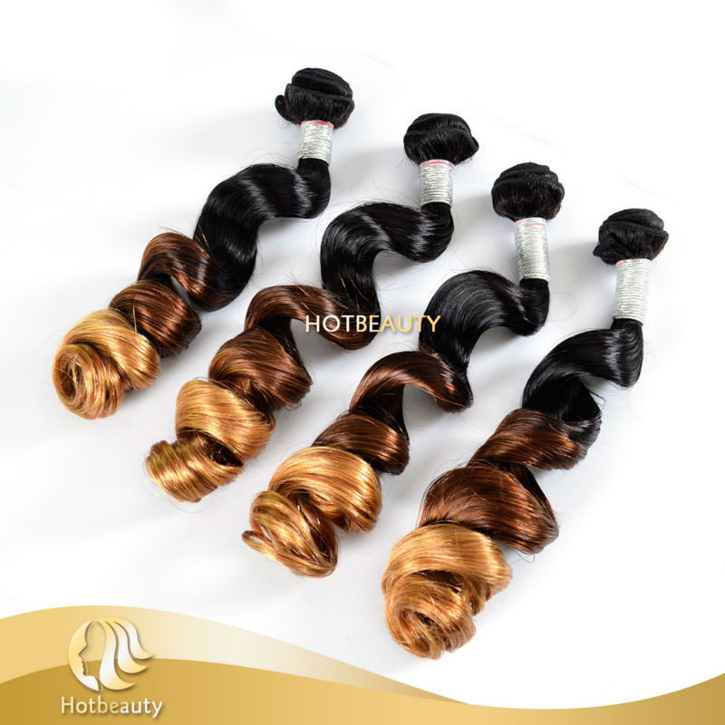 1B# 4# 27# three tone hair weave bundles 100% peruvian human virgin loose weaving