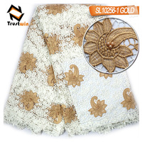 New arrival fashion African embroideried cord lace fabric with beads