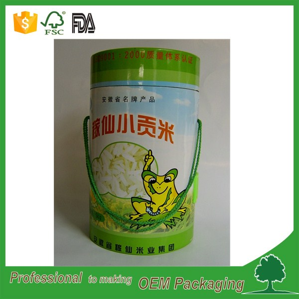 manufacturer rice/foods packaging paper tube packaging box with handle glossy lamination shiny effect lowest price