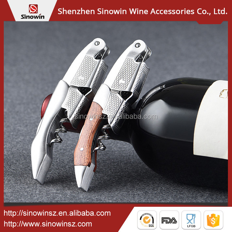 Sinowin Hot Sale Stainless Steel Wine Bottle Openers With Wood Handle