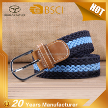 New Arrival Men's Elastic Braided Fabric Multicolored Woven Stretch Belt With Silver Finish Buckle
