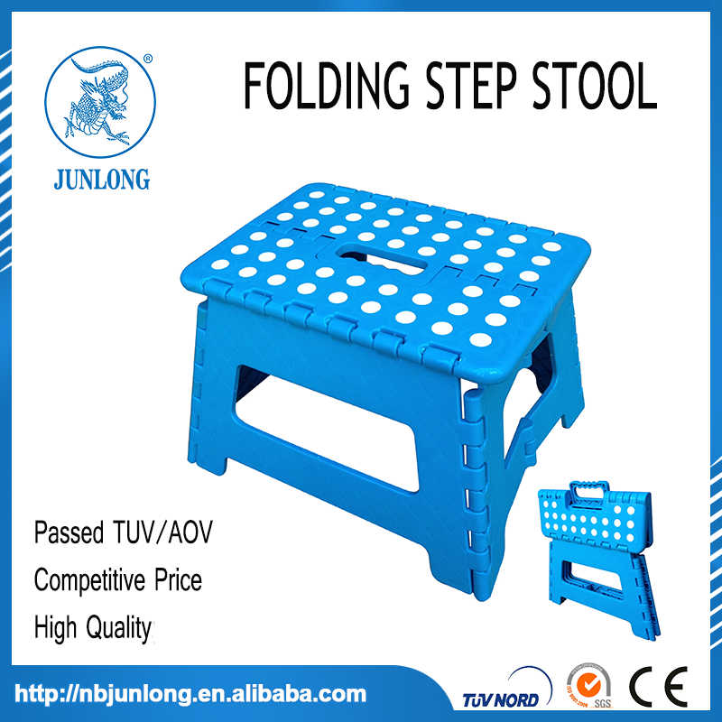 EN14183 EUROPE PLASTIC FOLDABLE STEP STOOL MADE IN CHINA JUNLONG