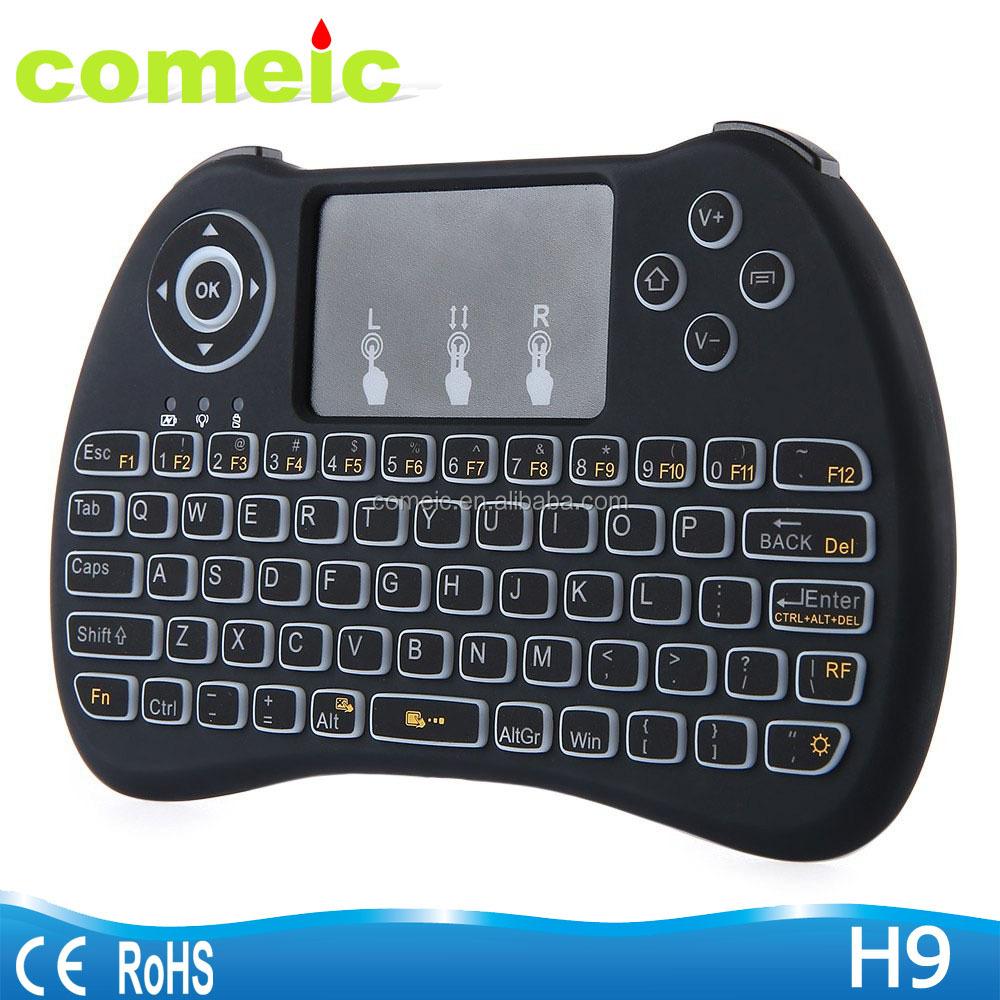 H9 Backlit Keyboard air mouse with multi touchpad