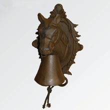 cast iron door bell in horse head with flower back