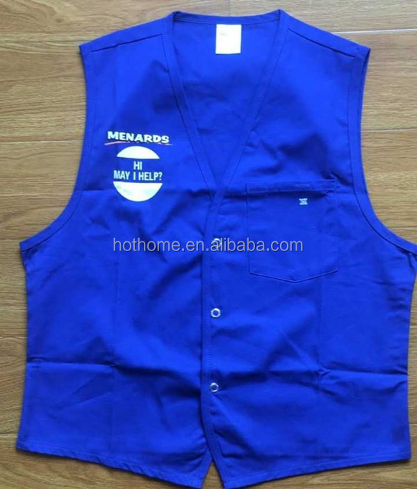 Vest For Supermarket Clerk Work Uniform Vests With Pockets & Front Button