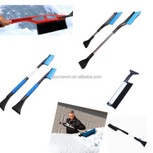 Extendable Handle Soft PET Bristle Snow Brush For Car Cleaning With Ice Scraper
