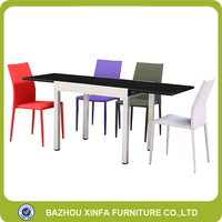 Modern Kitchen Small Extendable Powder Coating Frame Dining Table With Leather Chairs