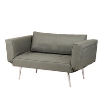 Linen Convertible Futon Couch with Chrome Metal legs