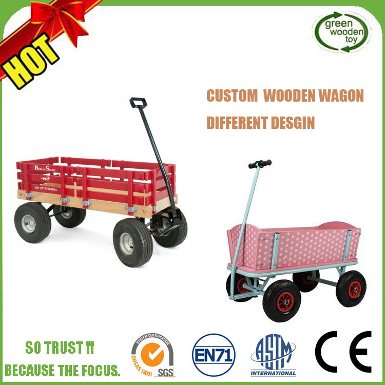 Custom Antique Folding Kids Wooden Garden Wagon Cart