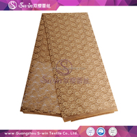 Guangzhou Lace supplier 94% nylon and 6% spandex Knitting Voile lace for fashion design lace baju kurung