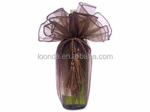 "Premium 28"" organza mesh tassel bag for wrapping wine"
