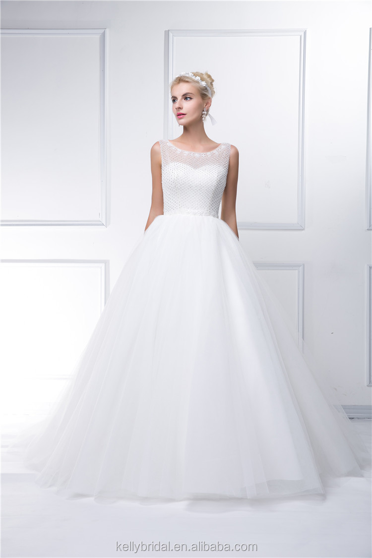 New arrival elegant sleeveless lace A-line floor-length wedding dress