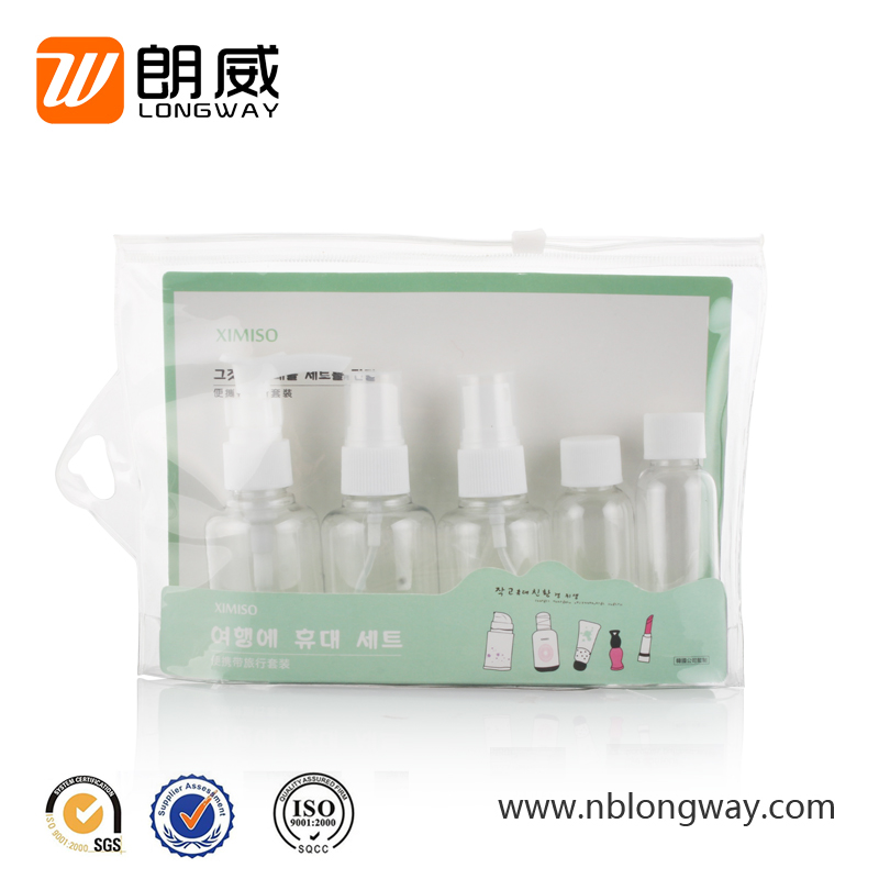 Airport Bottle Dispenser cosmetic travel kit hotel travel set with PVC bag
