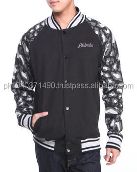 Custom Design Sublimation Printed Fleece College Jackets/High Quality Sublimation Printed Fleece College Jackets