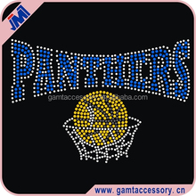 sport panthers basketball round crystal flatback rhinestone iron on transfer for apparel