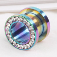 Ear Gauge Plug Stainless Steel Colorful Tunnel Ear Stretcher Expander 3-10mm Body Tunnel Jewelry
