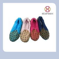 Studded beautiful stock pictures of women flat shoes 2013