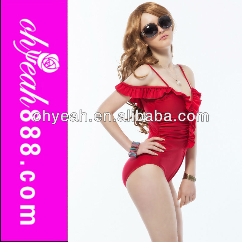 Hot Sexy Red New Coming Ladies Beauti Sex One Piece Swimsuit Wholesale