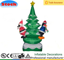 AIRBLOWN 6' FT Led Light Tree with santa claus and penguin Inflatable Xmas Outdoor Lawn Yard Decor
