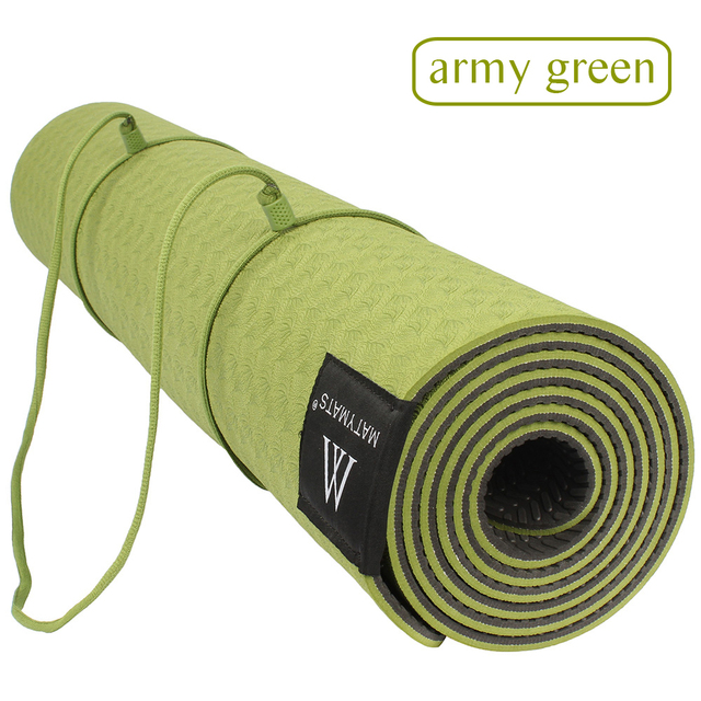 Matmats TPE Camping Yoga Mat Non Slip Double Layers With Adjustable Strap Healthy Lose Weight For Yoga 6mm 183cm&61cm
