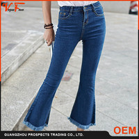 New pattern Latest design jeans pants flared women tight jeans flared with tassel from jeans manufacturers china