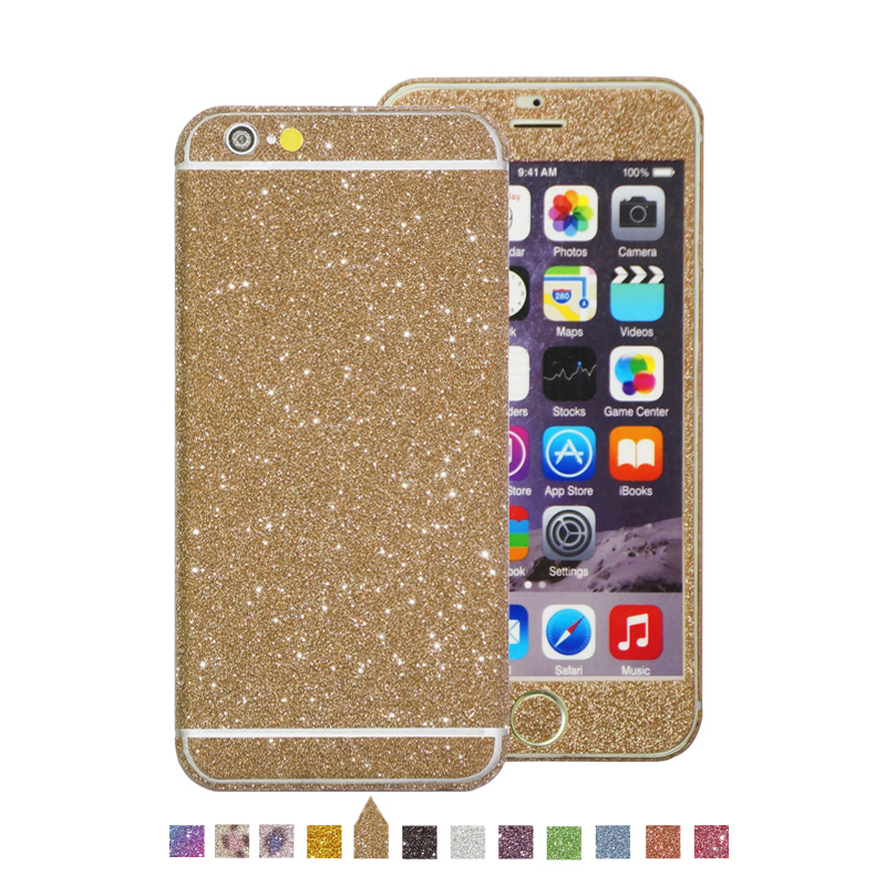 Hot Sell Bling Full Body Sticker Skin Cover Cell Phone Glitter Screen Protector Decals for iPhone 6