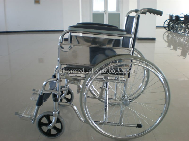 manual hospital wheelchair with high back for elderly people