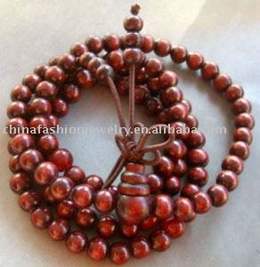 Tibetan Buddhist 108 wood Prayer Beads Mala Necklace