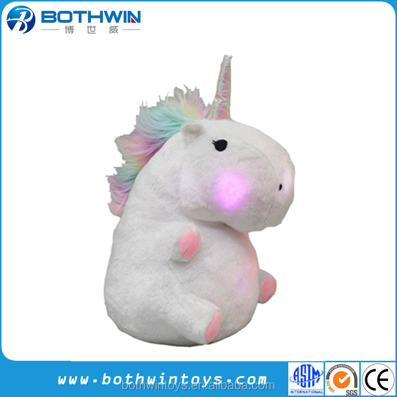 Novelty night lighting up LED grow unicorn pillow
