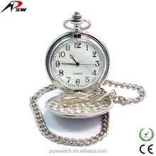 Vintage watch large face silver metal wholesale quartz movt stainless steel back cheap pocket watch