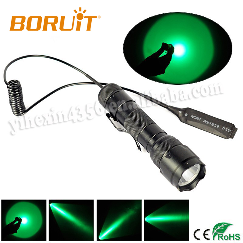 Boruit 502B Green Light LED Hunting Flashlight With Remote Control Switch