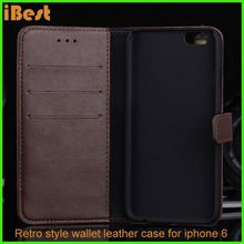 iBest leather retro flip leather case folio case with ID card slot,sleeve cover pouch case for apple iphone 6 plus