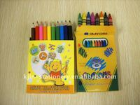 6pcs wax crayons in color box,craton in paper box Stationery