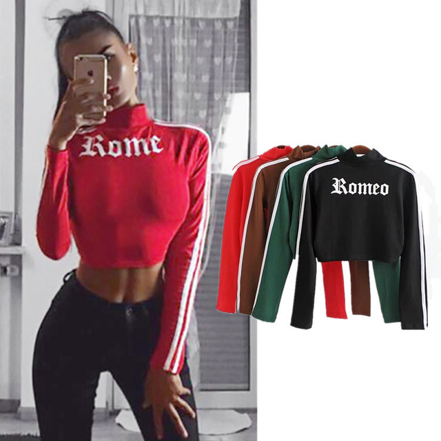 Women fall short of new cross-border long sleeved T-shirt printing female semi turtleneck jacket slim umbilical leakage