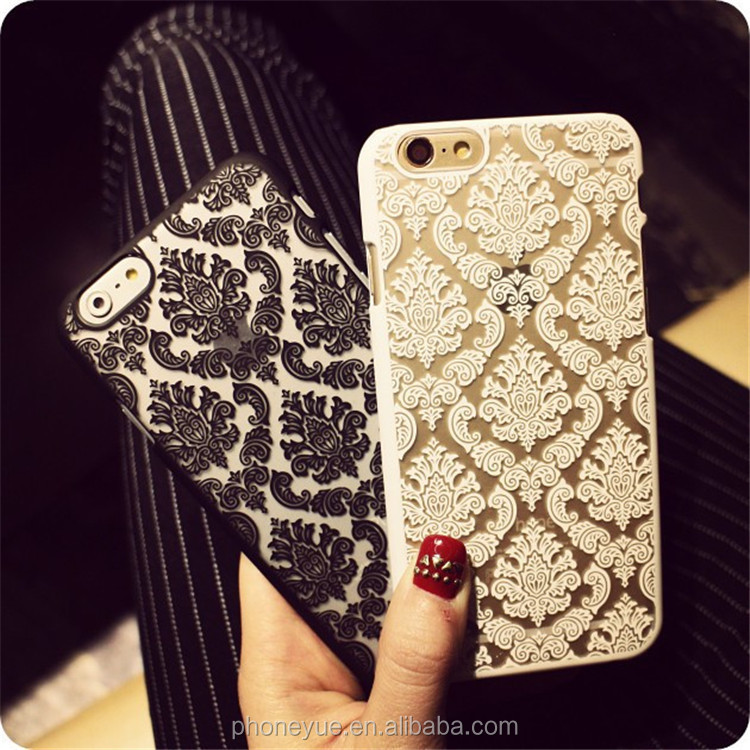 Luxury Fashion Vintage Flower Pattern Phone Case Back Cover for iPhone 6 Plus